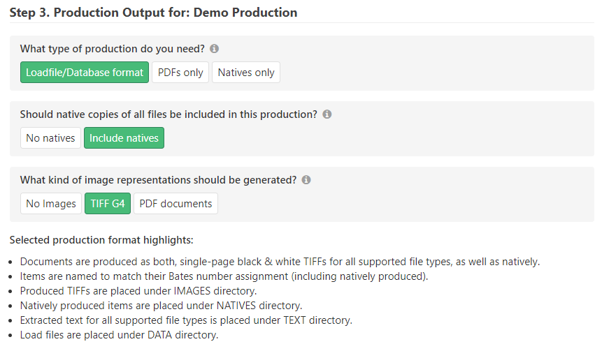 Choose to appropriate option to produce native files