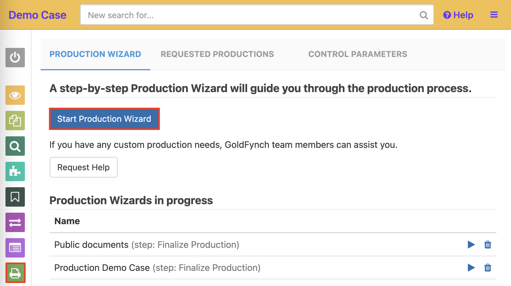 """Click the """"Start a Production Wizard"""" button from the top."""