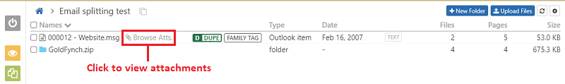 Click on the browse attachments to view the attached files in the files view