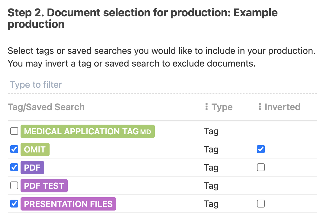 """Include and invert the tag which you tagged the produced files to be omitted with (e.g. """"omit"""" in this image)"""