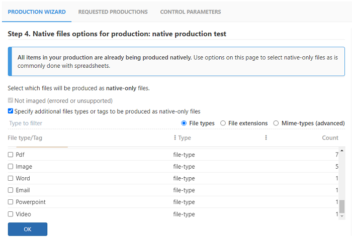 Enter a filter and scroll down the list of File Types and tags to select files to be produced in their native format