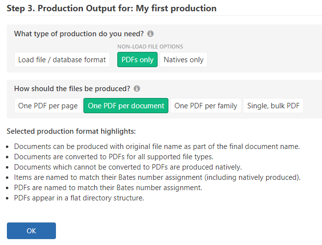 Choose the PDF option and one of the corresponding production formats