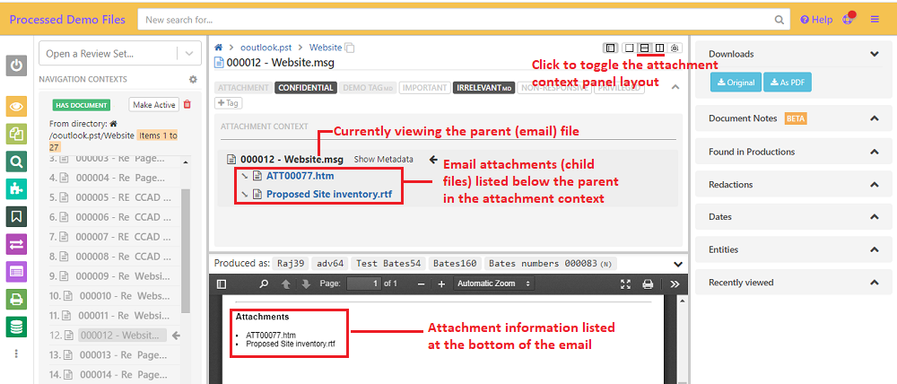 Current file is highlighted in the attachment context