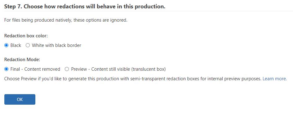 Enter redactions settings