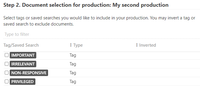 Select the tags of files you have marked privileged