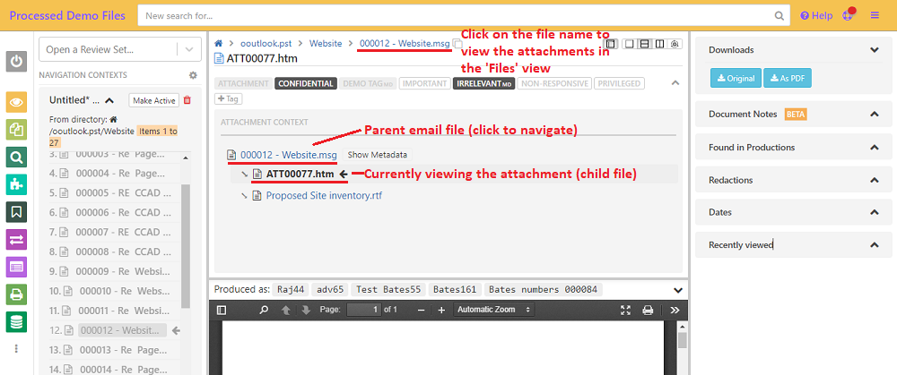 Click on the files in the attachment context to navigate to it