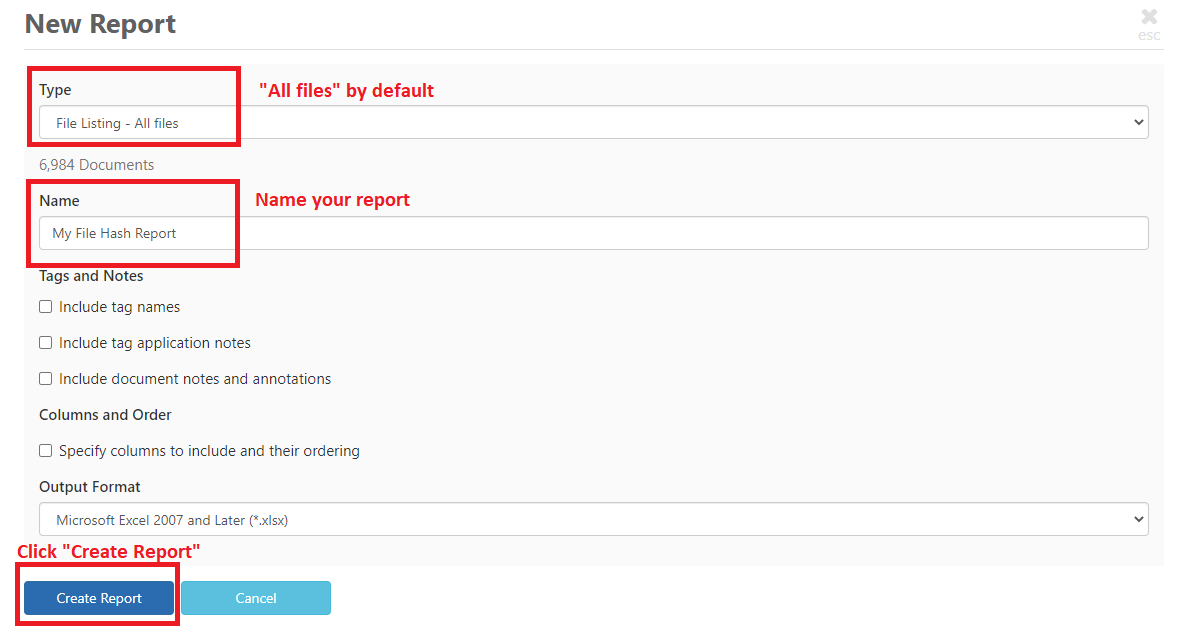 """""""New report"""" dialog box, highlighting """"Create Report"""" button."""