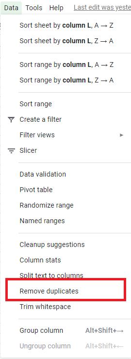 "Highlighting remove duplicates option under ""Data""."