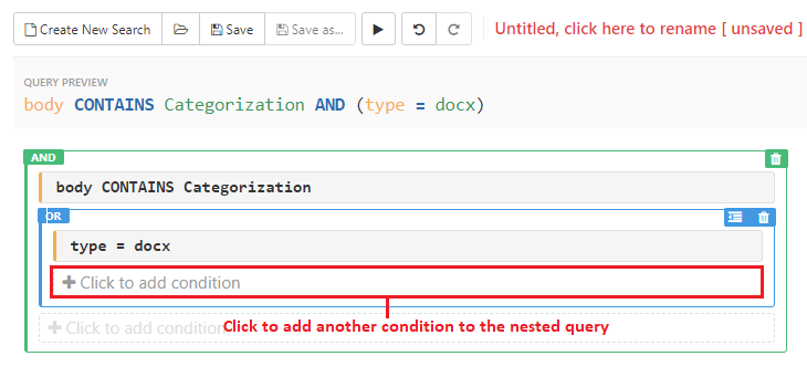 Click on the condition box within the nested query to add another query