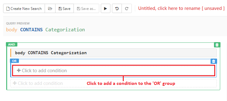 Click to add condition to the 'OR' group
