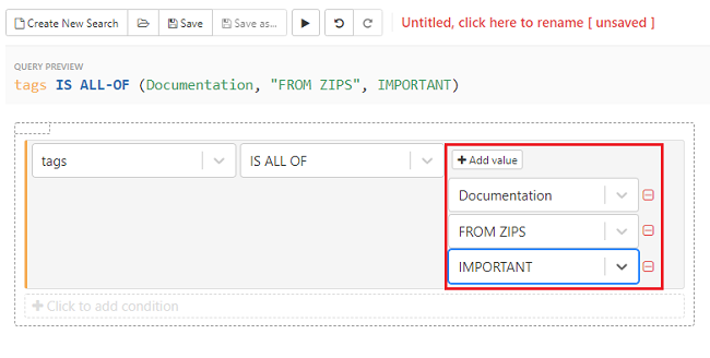 Click on the +Add value button adn select the values from the drop-down list