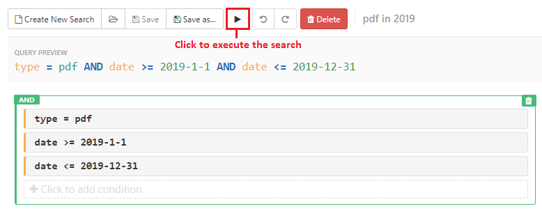Click on the run search button to execute the search