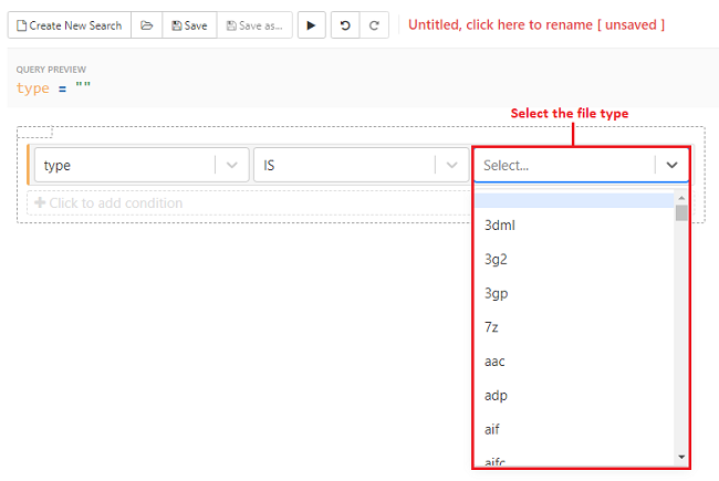 Select the file type from the drop-down list