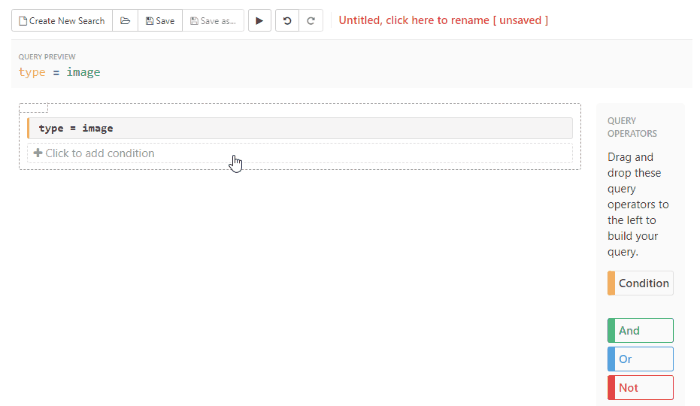 Add additional conditions by clicking on the +Click to add condition text in the query builder area