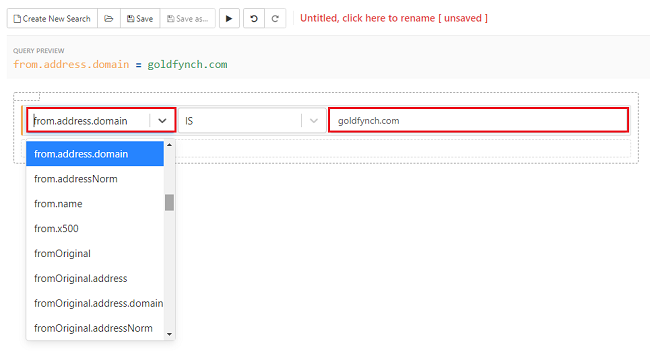 Select the from address domain parameter, enter the domain and execute the search