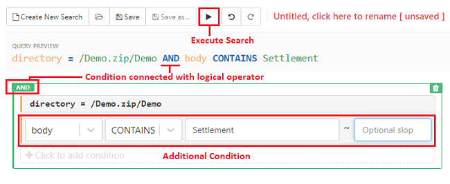 Add additional conditions and execute the search