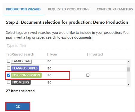 Select the tag to be used for the production