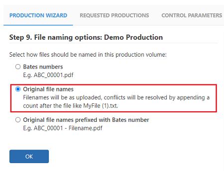 Select the original file names option