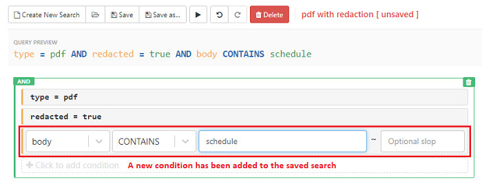 Add or remove conditions to edit the saved query