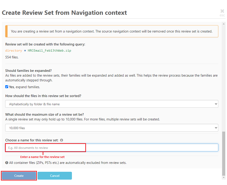 Enter a name for the review set and click on create