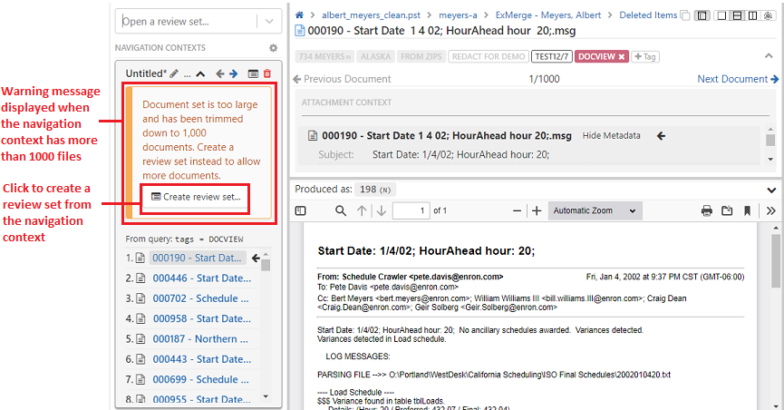 Click on the Create Review set button in the message to create a batch review for the nav context