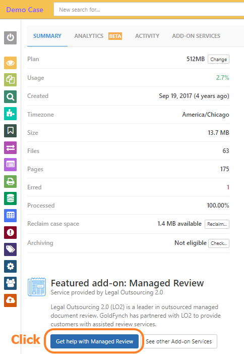 """Click on the """"Get help with Managed Review"""" button"""