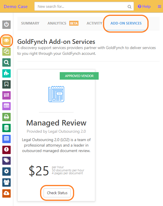 Check the add-on services tab of the overview screen to see the status of your request