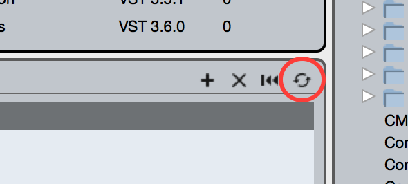 Cubase re-scan VST paths button
