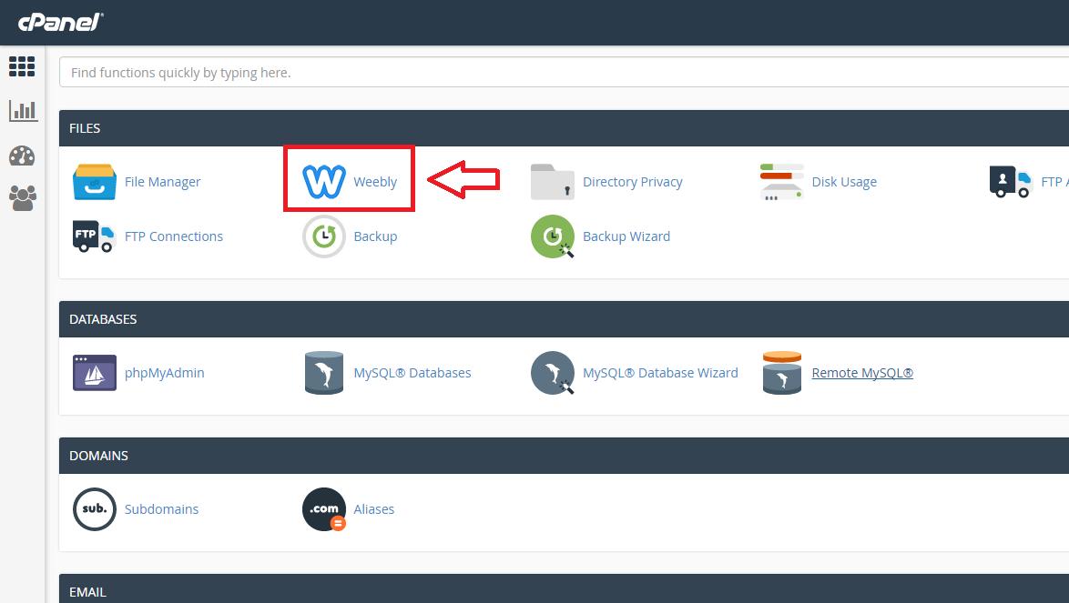 1. Weeblyn aktivointi tapahtuu Webhotellin hallintapaneelista. Kirjaudu tänne ja klikkaa Weebly kuvaketta.