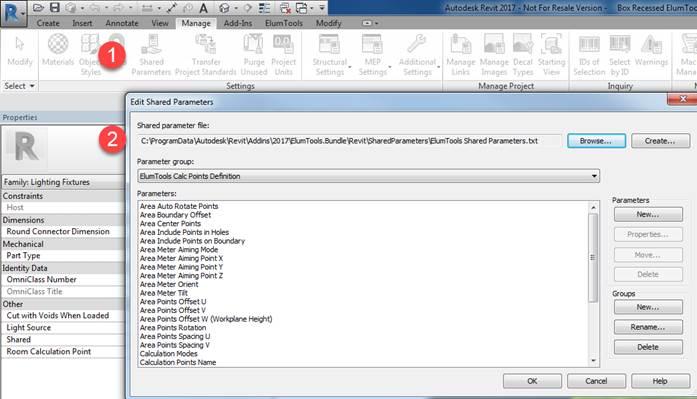 Associate ElumTools Emergency Parameter with family