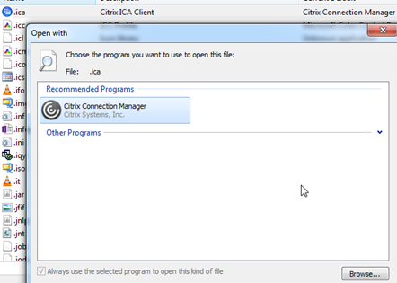 ICA file is not opening with the Citrix Receiver : Design