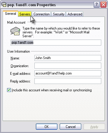 How to setup a 1and1 com email account with Outlook : Design