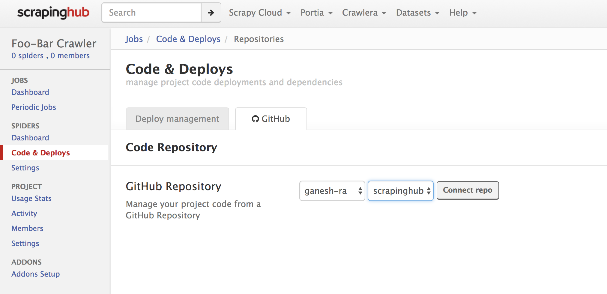 Deploying a Project from a Github Repository - Scrapinghub