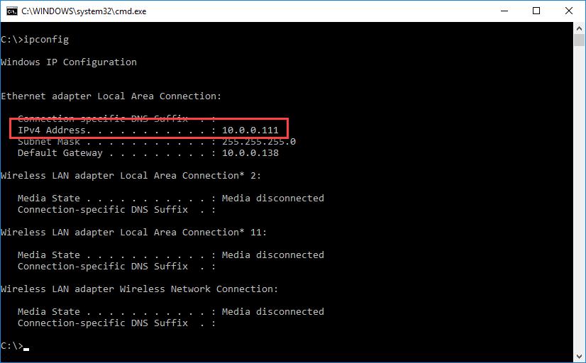 Find local IP address using ipconfig in cmd.exe