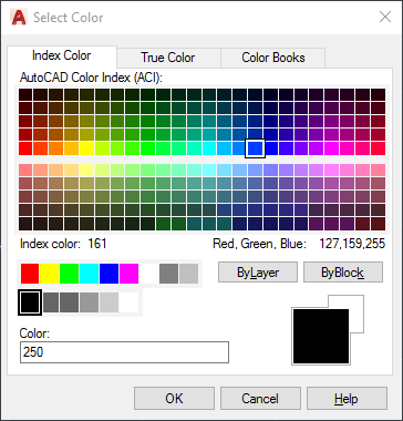 AutoCAD dialog for selecting a color