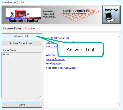 Activate Trial : Lighting Analysts Inc