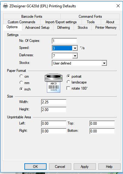 Zebra Printer Installation LP2844 & LP2824 : Design Manager