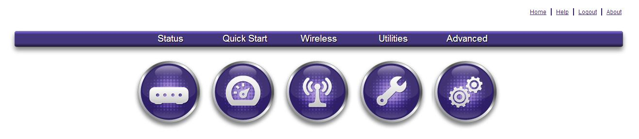 The router navigation panel.