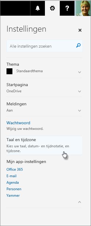 Office 365-deelvenster Instellingen.
