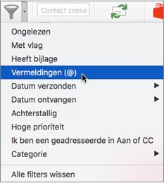 Gebruik Vermeld in het menu E-mail filteren om te zoeken naar e-mailberichten waarin u bent @vermeld