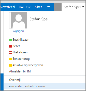 Het menu Ander postvak openen in Outlook Web App