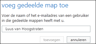 Dialoogvenster Gedeelde map toevoegen in Outlook Web App