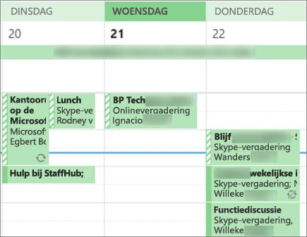 Zo ziet uw agenda eruit als een gebruiker wanneer u de agenda deelt met beperkte Details.