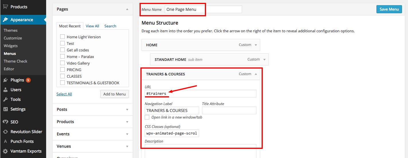 How to create One Page Layout : VamTam Help Desk