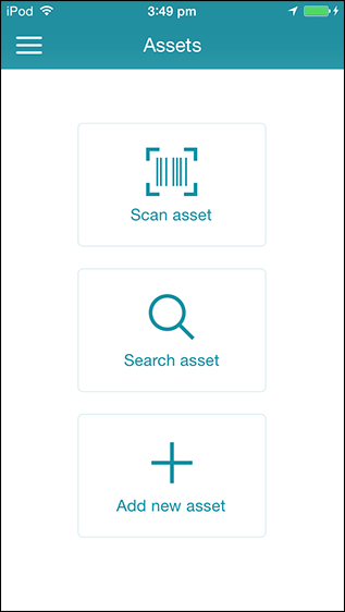 under assets tap scan assets to open the barcode scanner and point it to the barcode or qr code