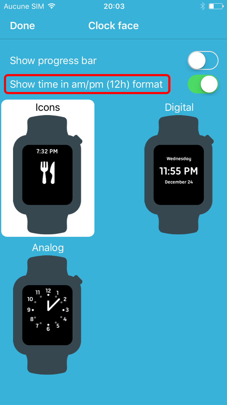 Octopus Watch app: change time format