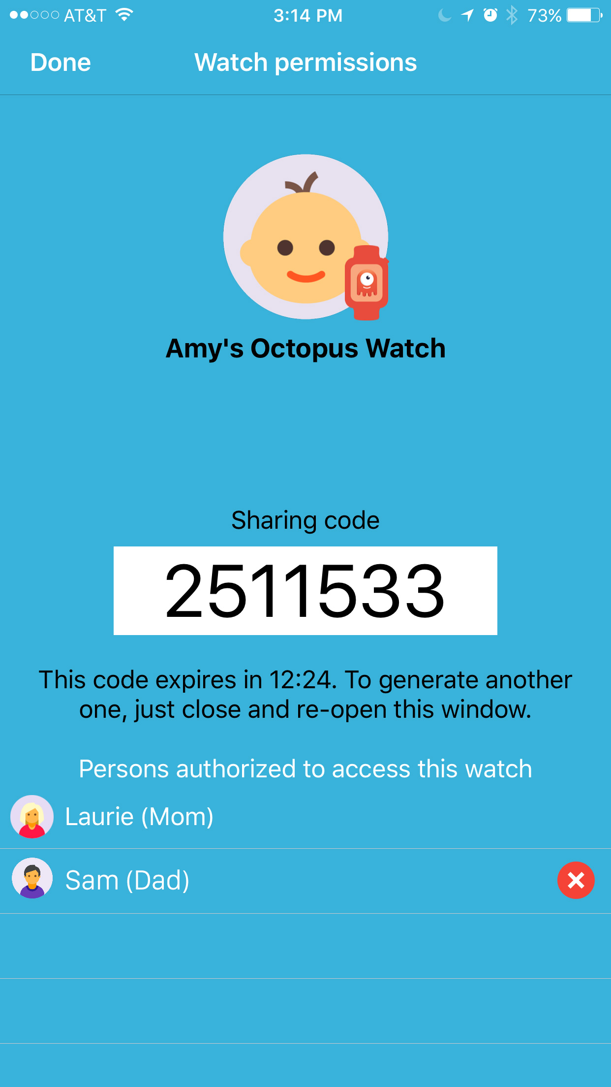 Octopus watch app: sharing code for parenting aide