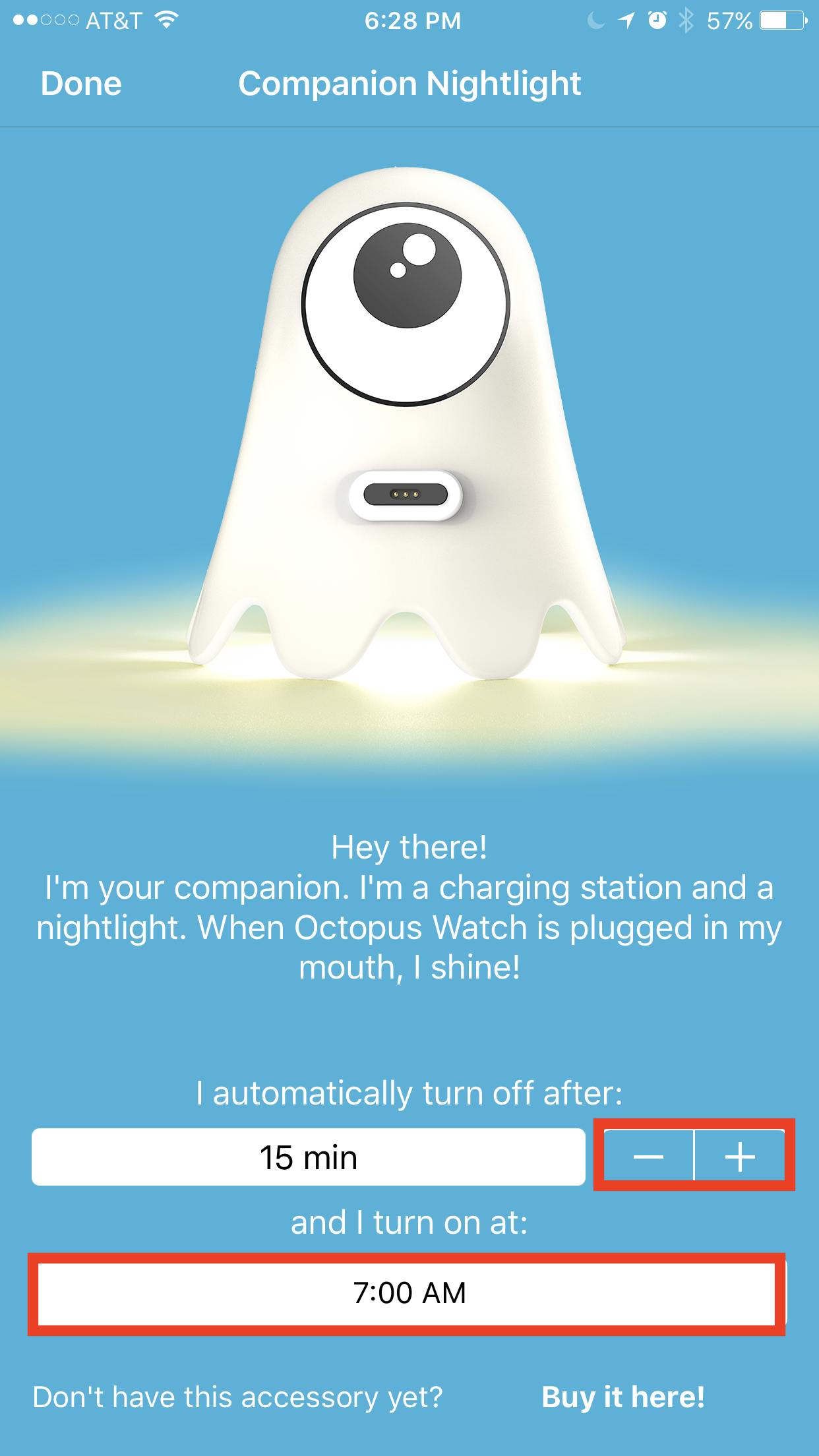 Octopus watch app: program the companion night light
