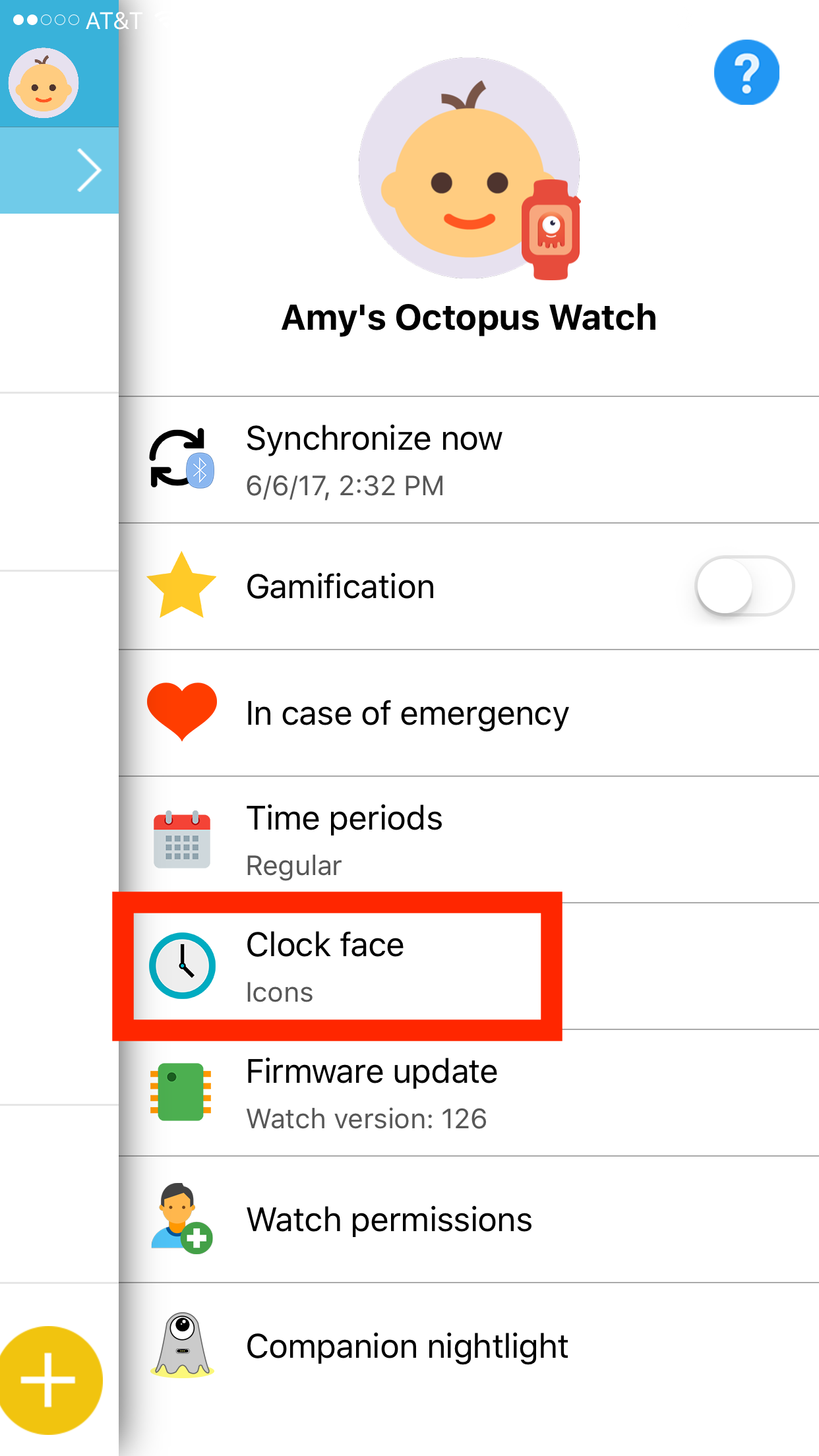 Octopus Watch app: enter in Clock Face menu