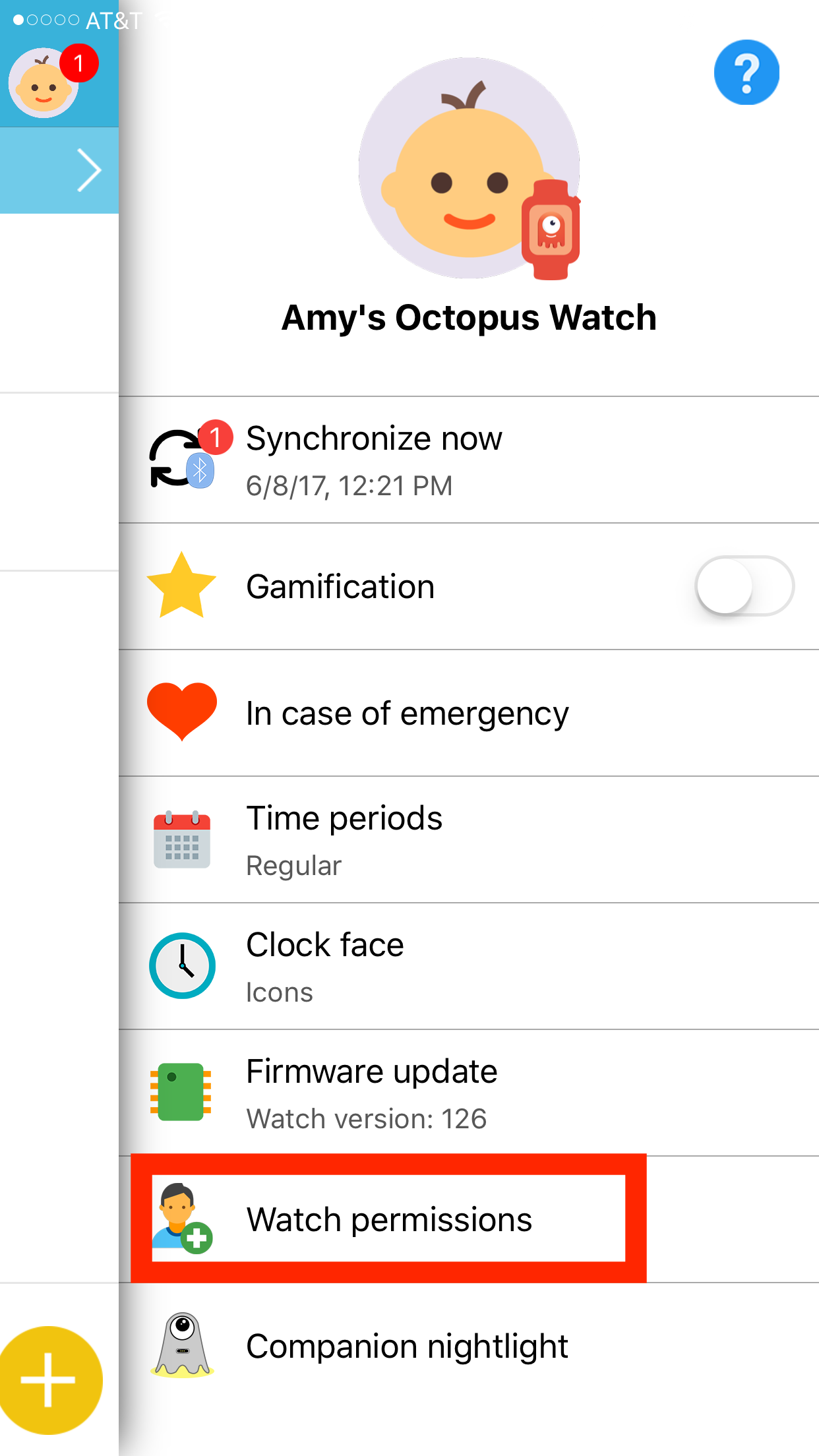 "Octopus watch app: right menu, click on ""watch permissions"""